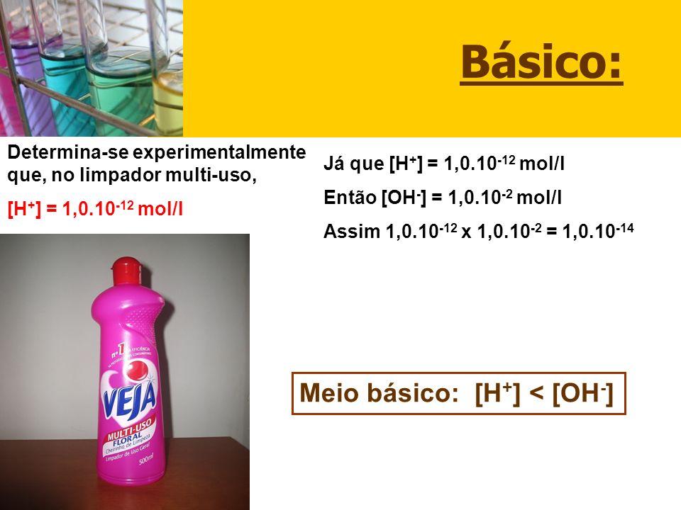 Básico: Meio básico: [H+] < [OH-]
